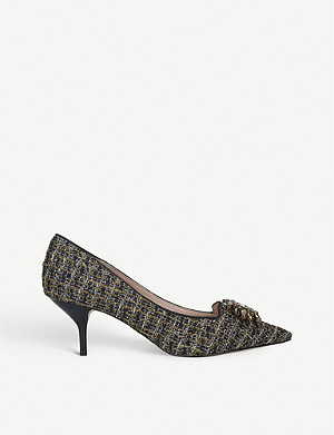 KURT GEIGER LONDON Pia woven embellished courts