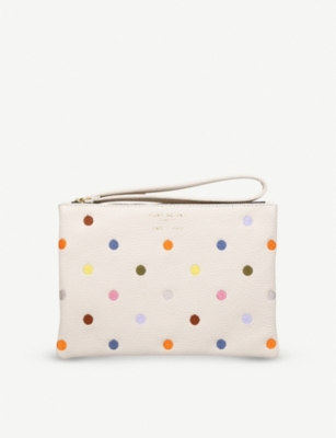 KURT GEIGER LONDON Violet polka-dot leather pouch