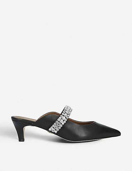 BANG & OLUFSEN: Dutchess crystal-embellished leather kitten heels