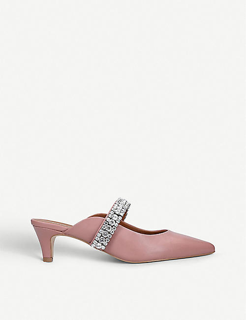BANG & OLUFSEN Dutchess crystal-embellished leather kitten heels