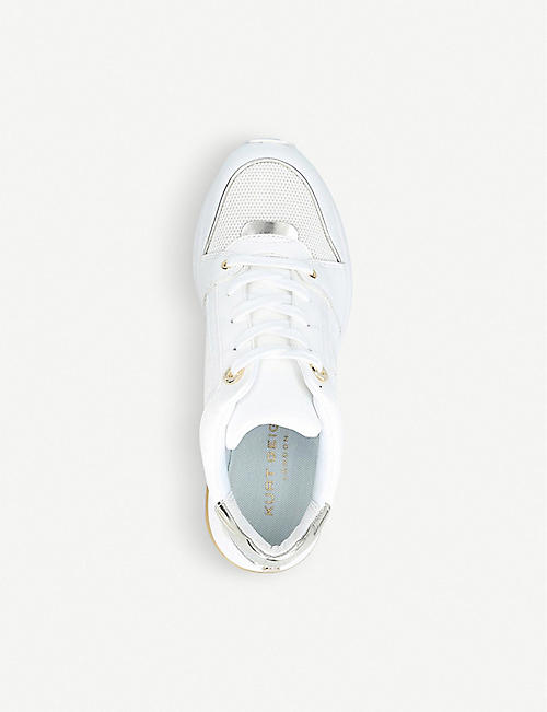 KURT GEIGER LONDON Lana metallic accent panelled leather trainers