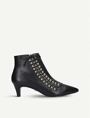 KURT GEIGER LONDON Rita lace-up kitten heel leather boots