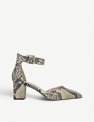 KURT GEIGER LONDON Burlington snake-print leather courts