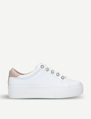 KURT GEIGER LONDON Liviah crystal eyelet leather trainers