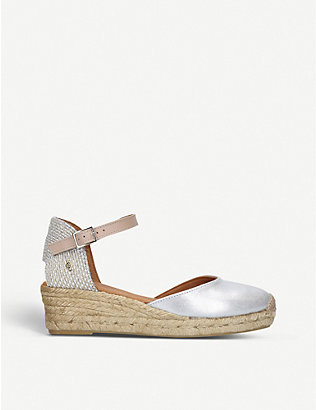 KURT GEIGER LONDON: Minty metallic leather and raffia espadrille wedge sandals
