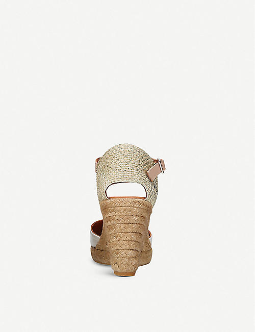 49939778f35e KURT GEIGER LONDON Monty leather and raffia wedge sandals