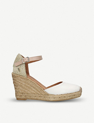 KURT GEIGER LONDON Monty leather and raffia wedge sandals