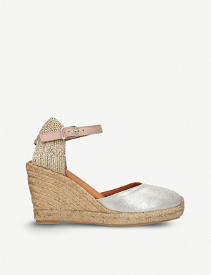 KURT GEIGER LONDON Monty metallic leather wedge sandals