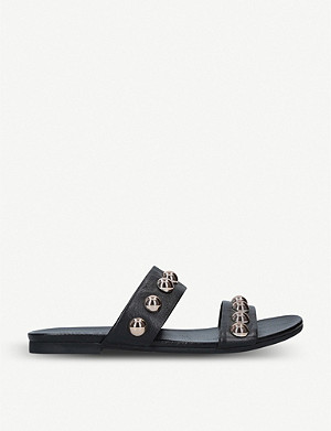 KURT GEIGER LONDON Myah studded double strap leather sliders