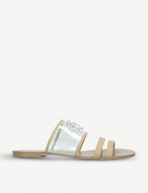 KURT GEIGER LONDON Pia jewel-embellished vinyl sandals