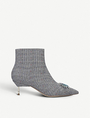 KURT GEIGER LONDON Bellevue check print fabric ankle boots