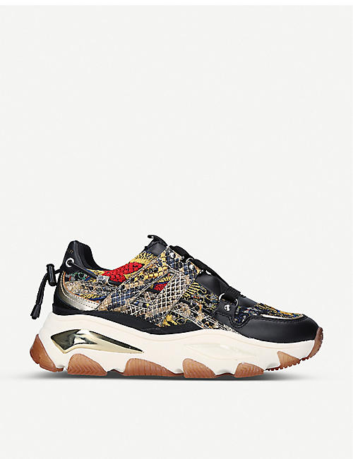 KURT GEIGER LONDON: Lettie studded leather and mesh trainers