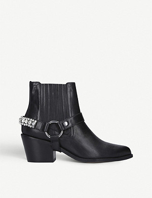 KURT GEIGER LONDON Sylvie embellished leather ankle boots