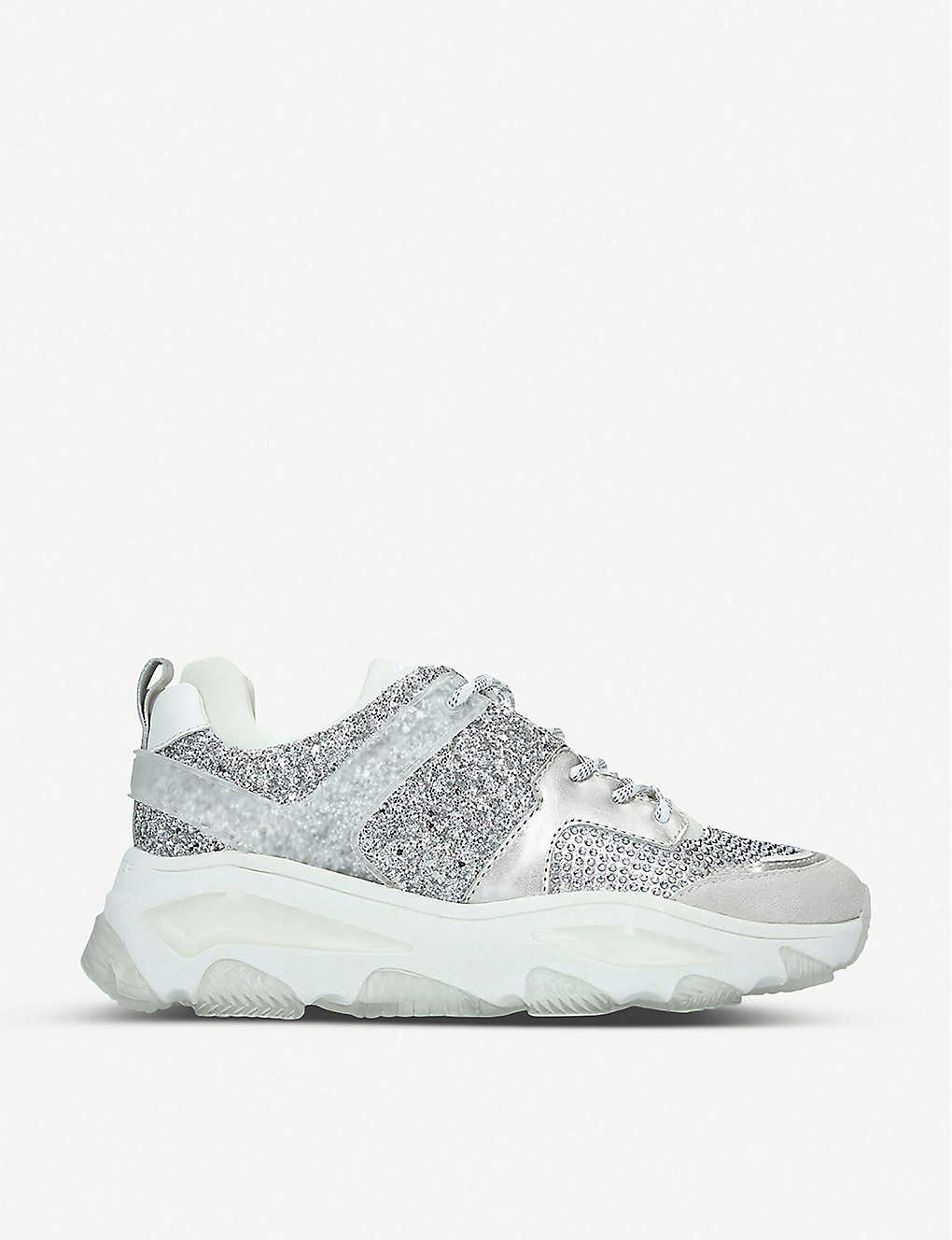 KURT GEIGER LONDON: Letta sequin low-top trainers