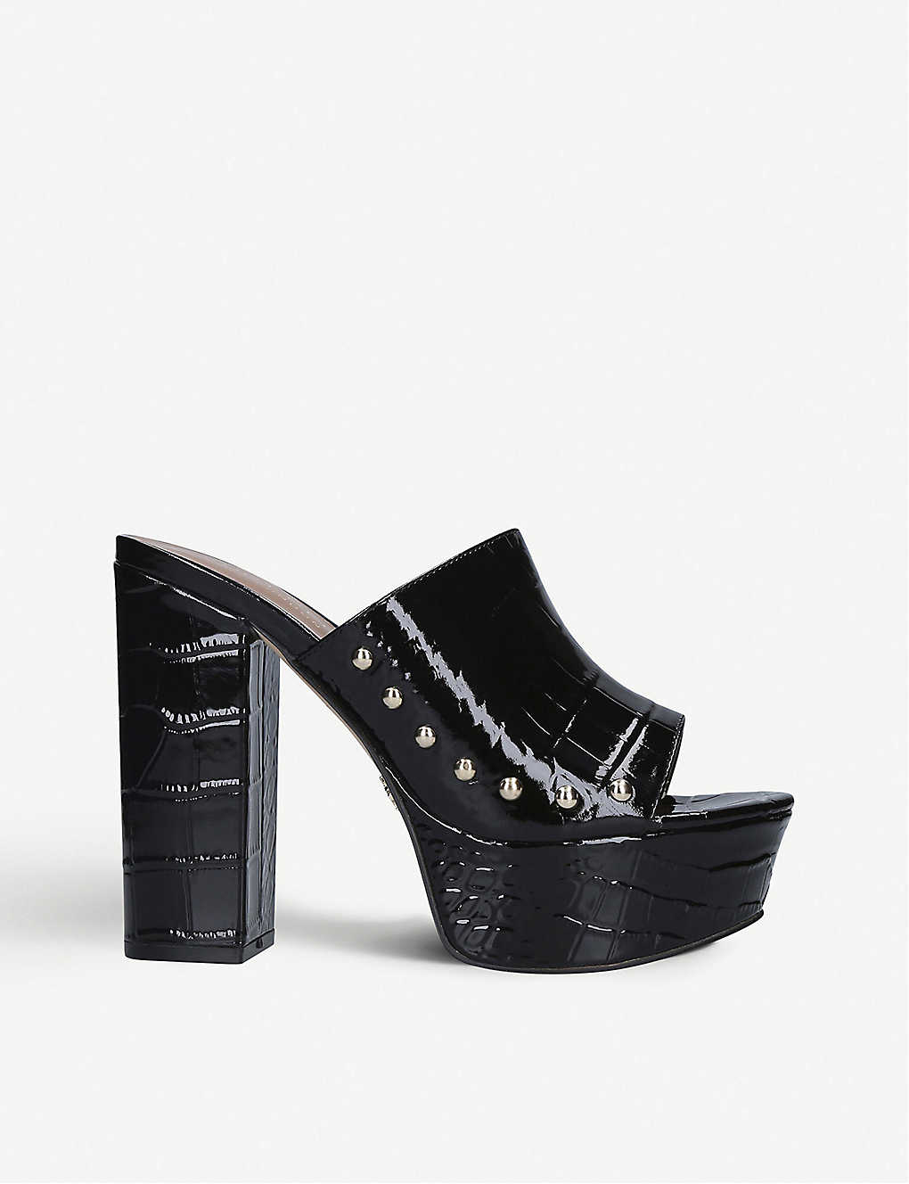 KURT GEIGER LONDON: Bree croc-embossed leather platform mules