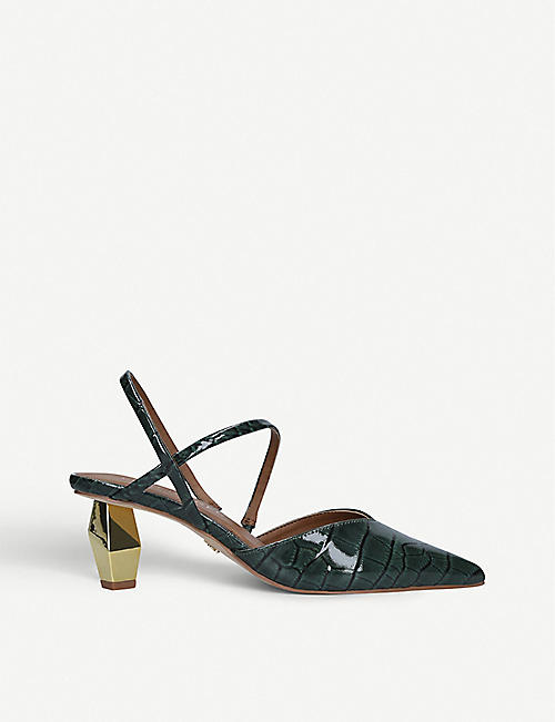 KURT GEIGER LONDON Della crocodile-print leather slingback courts