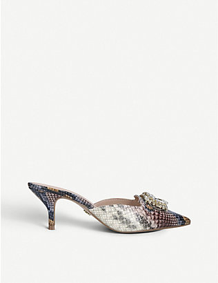 KURT GEIGER LONDON: Pia snake-print leather embellished mules