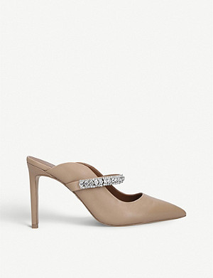 KURT GEIGER LONDON Duke crystal-embellished leather heeled mules