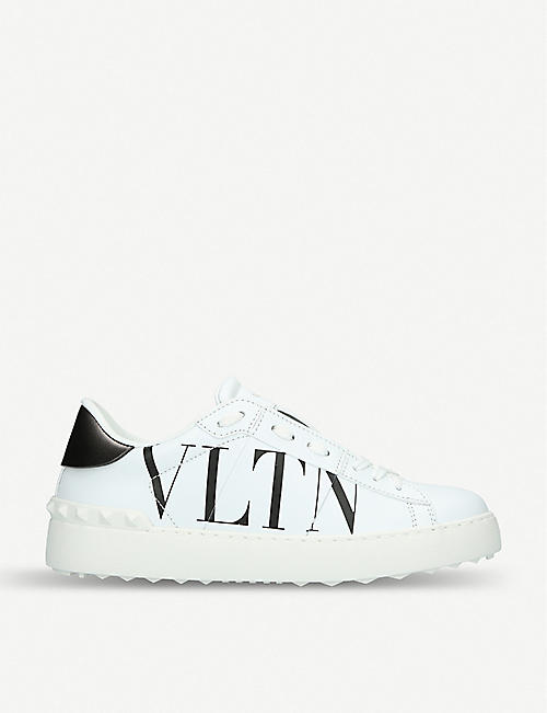VALENTINO GARAVANI: Logo-print leather trainers