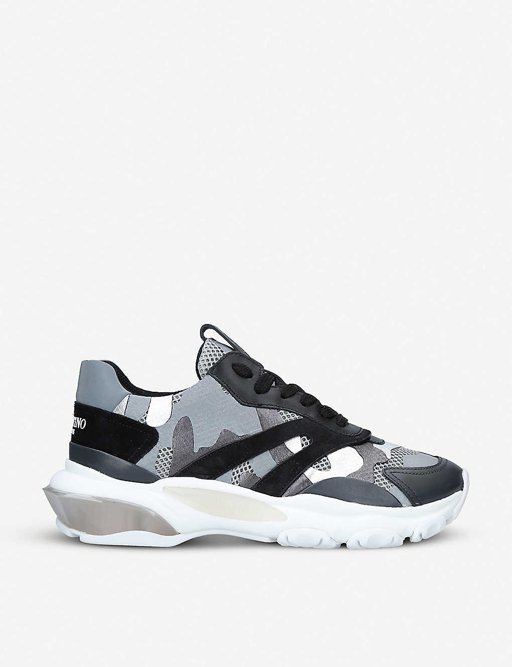 Womens Bounce camouflage-print mesh trainers - Silver com