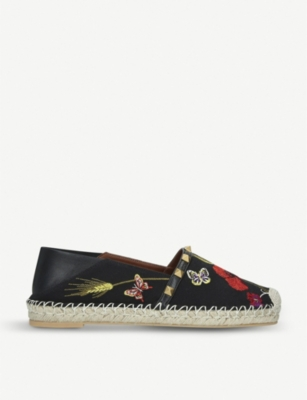 VALENTINO Poppy embroidered canvas espadrilles