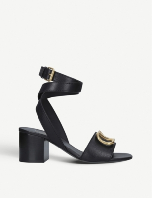 VALENTINO Logo-embellished leather heeled sandals
