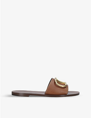 VALENTINO GARAVANI: Go-logo leather slider sandals