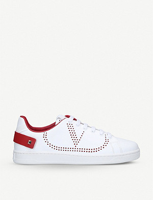VALENTINO Net perforated leather trainers