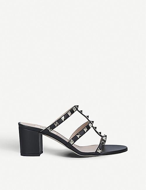a59d78805 VALENTINO Rockstud Block 60 heeled leather mules