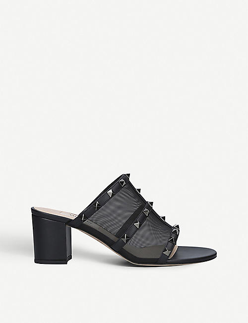 VALENTINO Rockstud leather and mesh mules