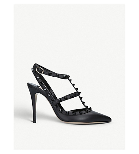 Valentino 0 SO NOIR 100 STUDDED LEATHER COURTS