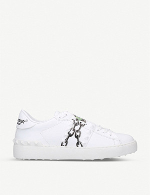 VALENTINO Rockstud floral-print leather low-top trainers