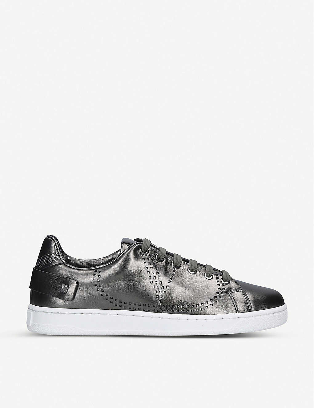 VALENTINO GARAVANI: Backnet metallic perforated leather trainers