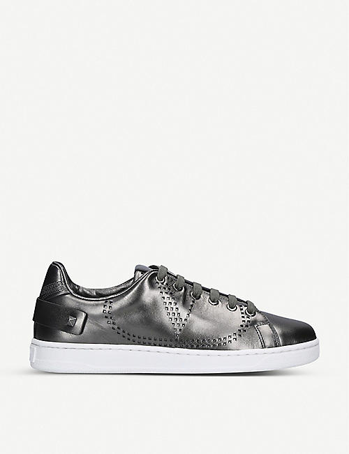 VALENTINO Backnet metallic perforated leather trainers