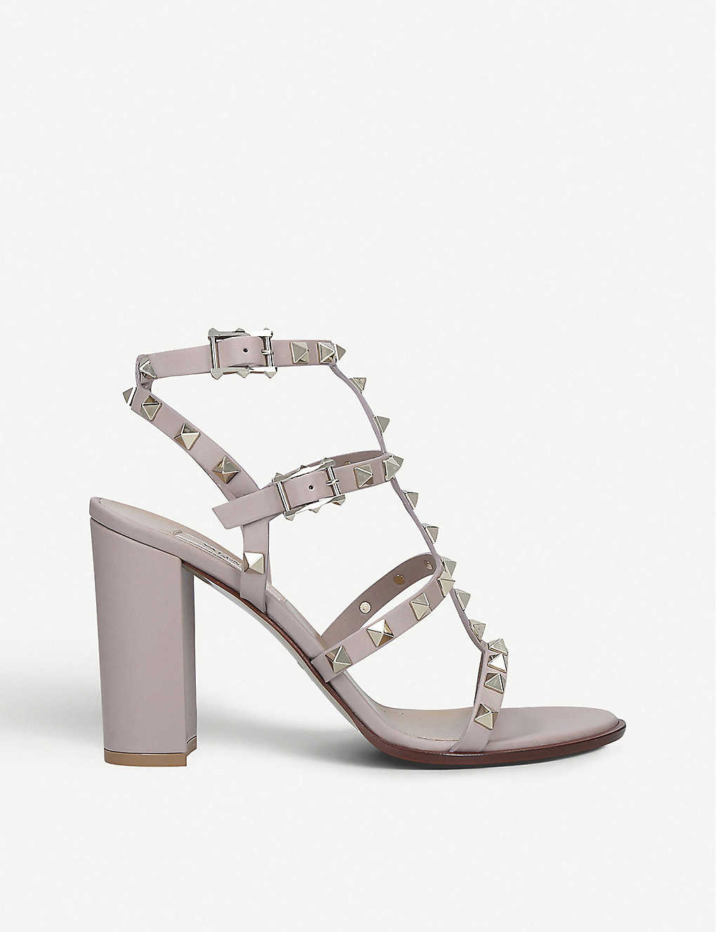 VALENTINO GARAVANI: Rockstud 90 leather heeled sandals