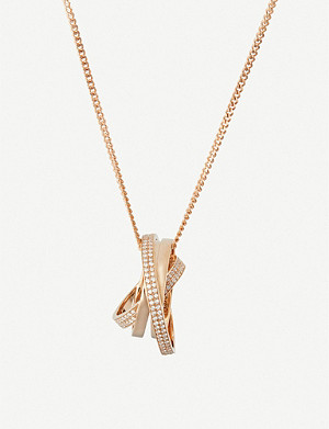REPOSSI Intertwined rings 18ct pink-gold and diamond necklace