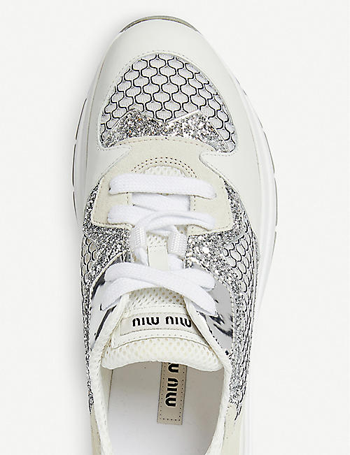 MIU MIU Glitter-detail leather and mesh trainers