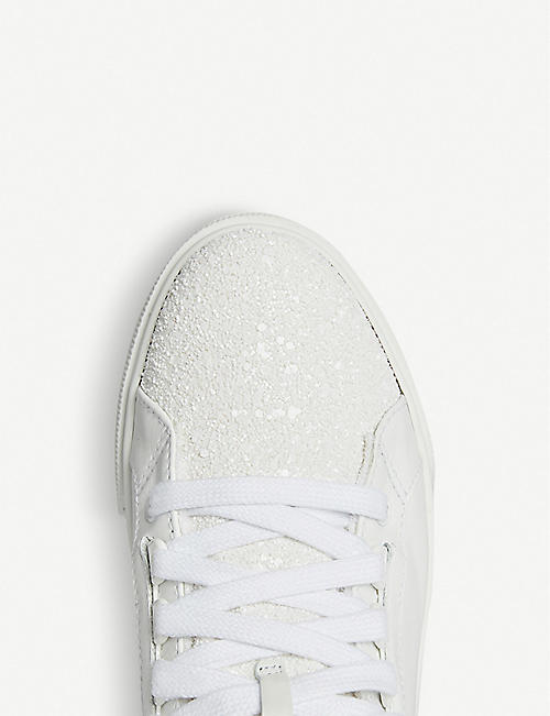 MIU MIU Glitter-embellished leather high-top trainers