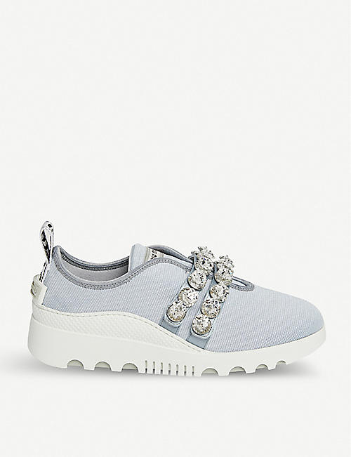 MIU MIU Miu Run embellished stretch-knit trainers