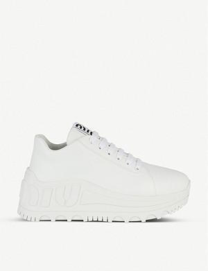 MIU MIU Logo-embossed leather trainers