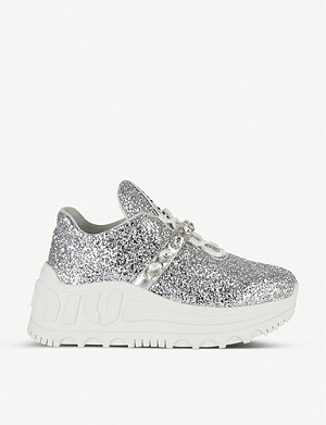 MIU MIU Embellished-strap glitter wedge trainers