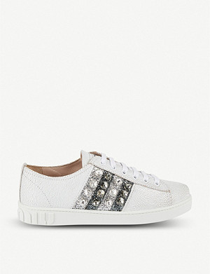 MIU MIU Crystal-embellished crackle leather trainers