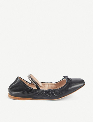 MIU MIU Logo-detail leather ballerinas