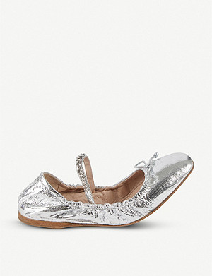 MIU MIU Logo-detail metallic leather ballerinas