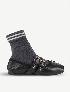 MIU MIU Sock leather ballet flats