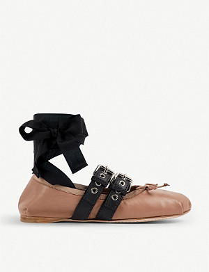 MIU MIU Buckled leather ballerina flats