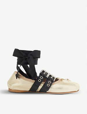 MIU MIU Buckled metallic-leather ballerina flats