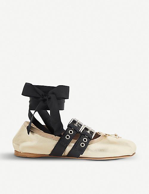 cbbe273a8a8 MIU MIU Buckled metallic-leather ballerina flats