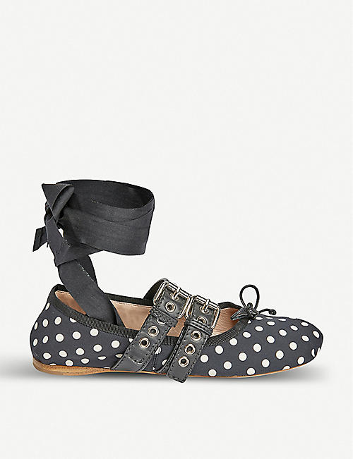 MIU MIU: Polka-dot leather-trimmed ballerina flats