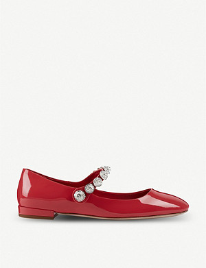 MIU MIU Patent-leather crystal-embellished Mary Jane ballerina flats